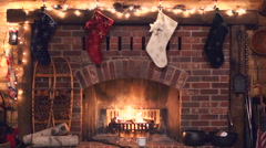 Stock Video Footage of Christmas Fireplace