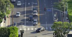 Aerial view traffic intersection Hollywood Blvd Fairfax Avenue. 4K UHD timelapse Stock Footage