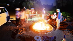 3 axis Motion Control Time Lapse of Campers & Bonfire in Alpine Forest  Stock Footage