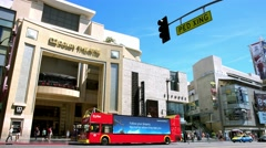 4K, UHD, Tourist Bus and Dolby Theather in Los Angeles, California, BlackMagic Stock Footage