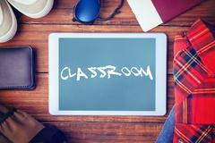 Stock Photo of Classroom against blue