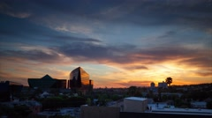 Beautiful fiery sunset city West Hollywood skyline Los Angeles. 4K UHD Timelapse - stock footage