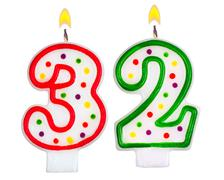 Birthday candles number thirty two - stock photo