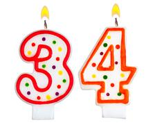 Birthday candles number thirty four Stock Photos