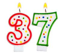 Birthday candles number thirty seven - stock photo
