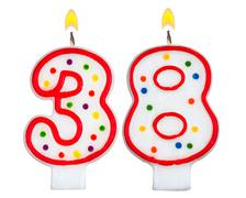 Birthday candles number thirty eight - stock photo
