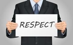 businessman holding respect word poster - stock illustration