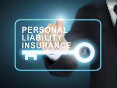 Male hand pressing personal liability insurance key button Stock Illustration