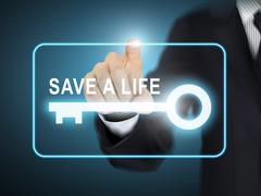 Male hand pressing save a life key button Stock Illustration