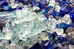 Pieces of raw glass Stock Photos
