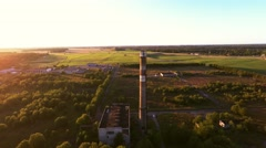 Big industrial pipe, summer landscape. Aerial footage Stock Footage