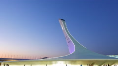 The main Olympic torch, after sunset. Sochi, Russia. 4K Stock Footage