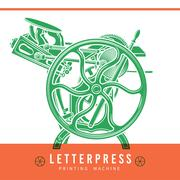 Letterpress overprint vector design. Vintage printshop logo. Old printing Stock Illustration