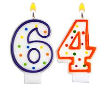 Birthday candles number sixty four - stock photo