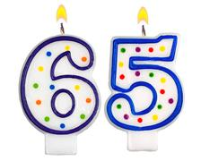 Birthday candles number sixty five - stock photo