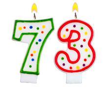 Birthday candles number seventy three Stock Photos