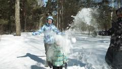 Children funs: snow is falling on a head - stock footage