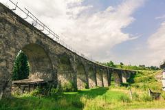 bridge viaduct in the Carpathians - stock photo