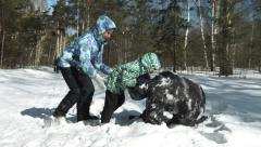 Family winter games in snow Stock Footage