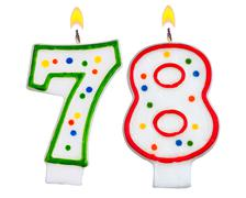 Birthday candles number seventy eight - stock photo