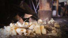 Wood shavings spilling on the floor. Stock Footage