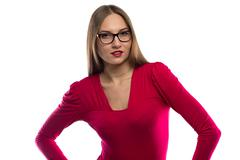 Photo of smiling woman in red leaned aside Stock Photos