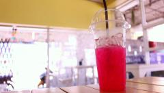 Red Sweet Drinks in a glass Stock Footage