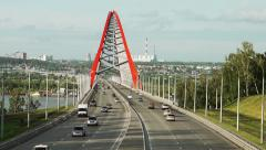 Traffic on a new cable-stayed bridge in Novosibirsk Stock Footage