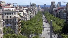 Aerial View Looking Down Passeig de Gracia Barcelona Stock Footage