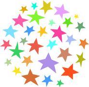 Circle collection of irregular stars hand-drawn over white Stock Illustration