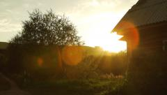 Scenic rural landscape on sunset in Altai, Russia - stock footage