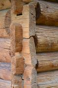 Stock Photo of Detail of an old log house.