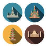 4 flat landmark icons - stock illustration
