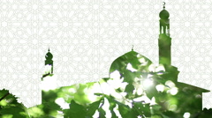Mosque and leaves composite silhouette with islamic pattern background. Stock Footage