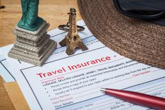 Travel Insurance Claim application form and hat with eyeglass and pen on brow Stock Photos