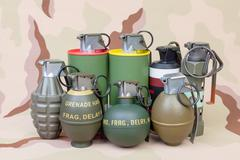 All explosives, weapon army,standard time fuze, hand grenade on camouflage ba - stock photo