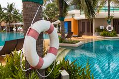 Stock Photo of Lifebuoy for safety in swimming pool