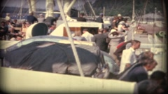 Car ferry leaves a marina mariehamn finland  old 8mm film Stock Footage