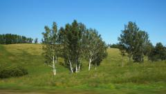 Fast Moving along a green hills and trees (POV) - stock footage