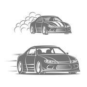 Sport car vector logo design. Street racing illustration. Drift show elements Piirros
