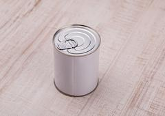 garbage cans on wood floor - stock photo