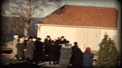 Funeral in a church in Sweden  gravberg in dalarna  8mm old film Stock Footage
