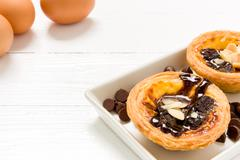 Stock Photo of Traditional Portuguese egg tart to be eaten with tea.