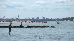 At the Beach in Laboe Kiel Germany Stock Footage