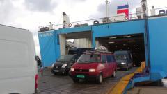 Stenaline Ferry unloading cars Stock Footage