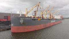 cargo ship -Areal - stock footage