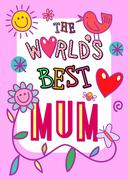 Worlds Best Mum Card - stock illustration