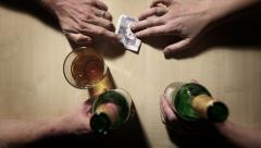 Table top: money and merchandise changing hands Stock Footage
