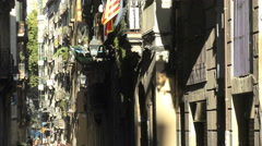 Narrow Streets of Barcelona Historic Gothic Old Town Stock Footage