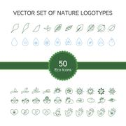 Vector set of 50 ecology icons Stock Illustration